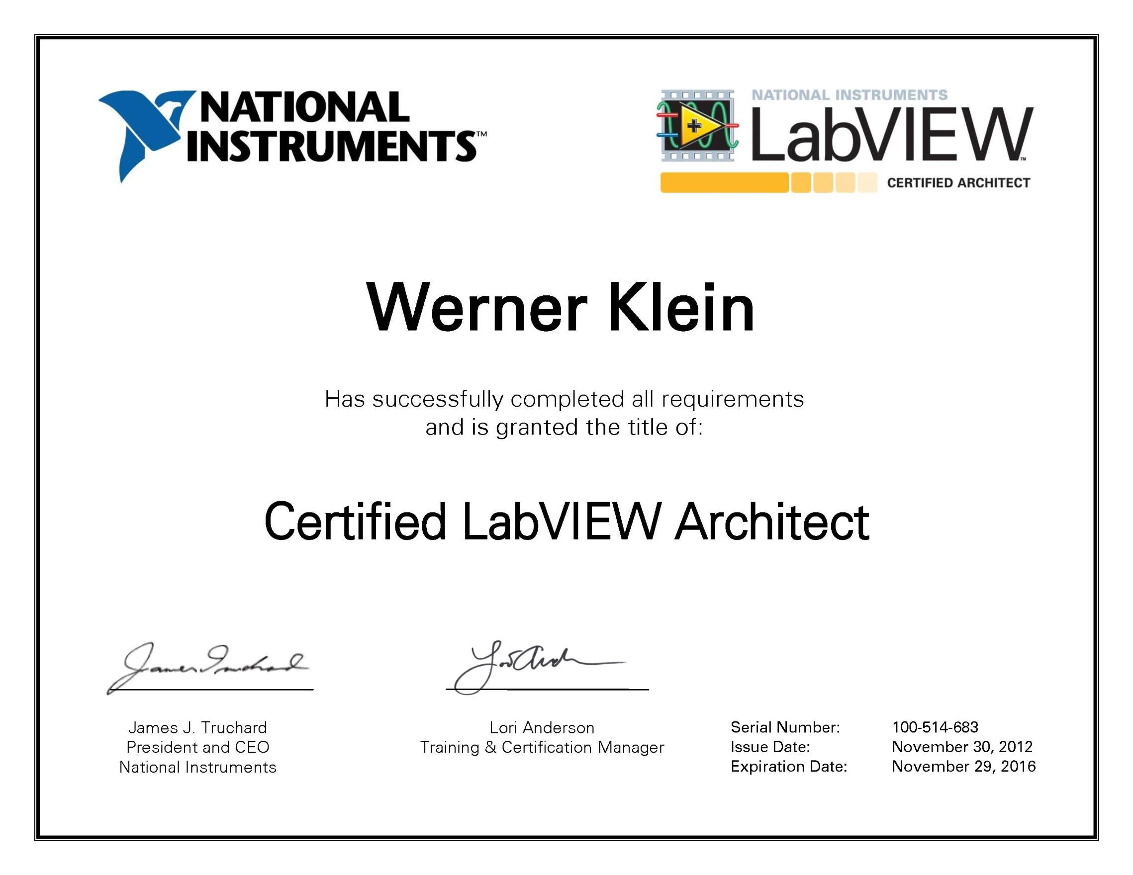 Labview softwareentwicklung beck messtechnik for Certified architect